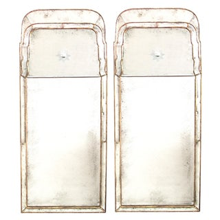 A Chic Pair of Queen Anne Style Giltwood Pier Mirrors With Mirrored Border and Reverse-Etched Sunburst For Sale