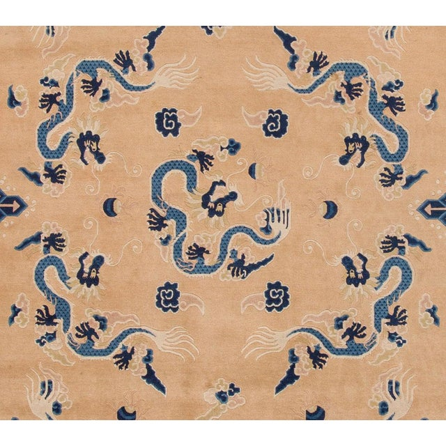 """Apadana - Antique Tan and Blue Chinese Peking Rug, 6'7"""" x 9'7"""" For Sale - Image 4 of 5"""