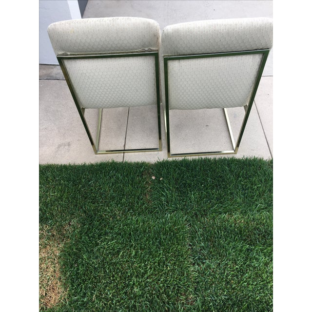 Milo Baughman-Style Brass Dining Chairs - Pair - Image 3 of 6