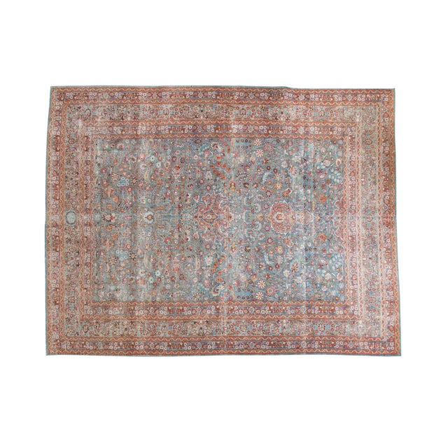 "Vintage Distressed Meshed Carpet - 8'8"" x 11'4"" - Image 1 of 10"