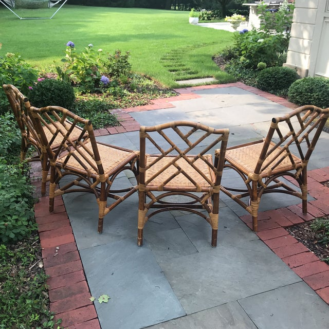 Traditional 1960s Traditional Bamboo and Rattan Chairs - Set of 4 For Sale - Image 3 of 11