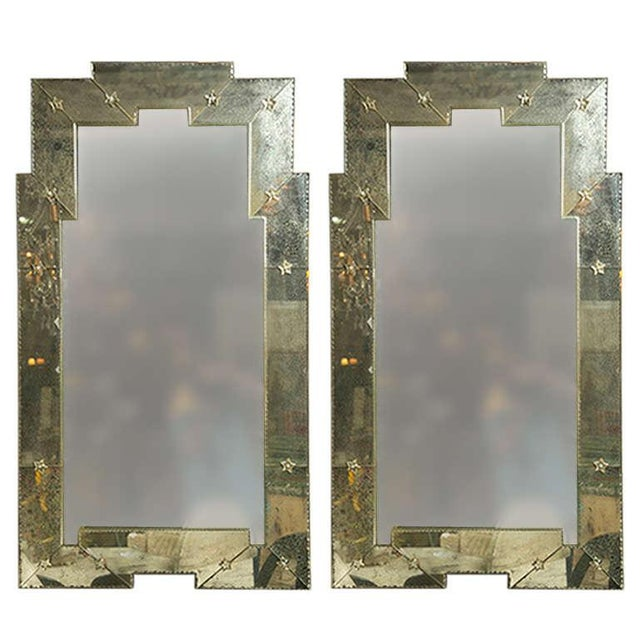 Art Deco Style Distressed Venetian Mirrors - Pair - Image 1 of 5