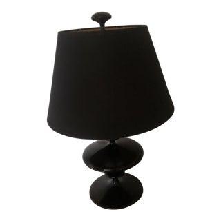 Black Jonathan Adler Lamp & Restoration Hardware Shade For Sale