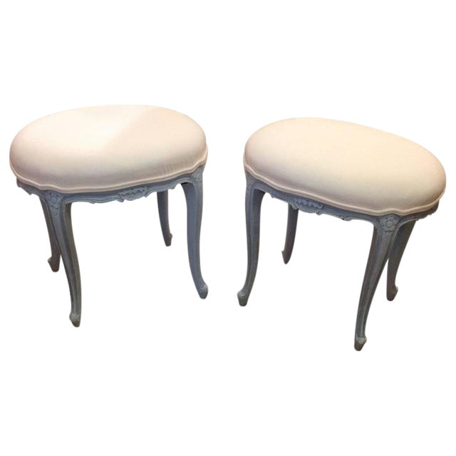 French Gray Wood Upholstered Oval Stools / Ottomans - a Pair For Sale