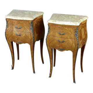 19th Century French Marquetry Petit Commodes - a Pair For Sale