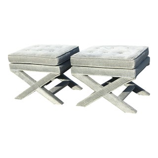 1970s Vintage Billy Baldwin Upholstered X Base Ottomans- A Pair For Sale