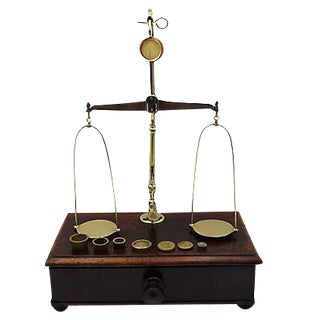 Antique English Brass Jewelry Scale For Sale