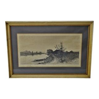Antique Framed Remarque Landscape Engraving - Signed For Sale