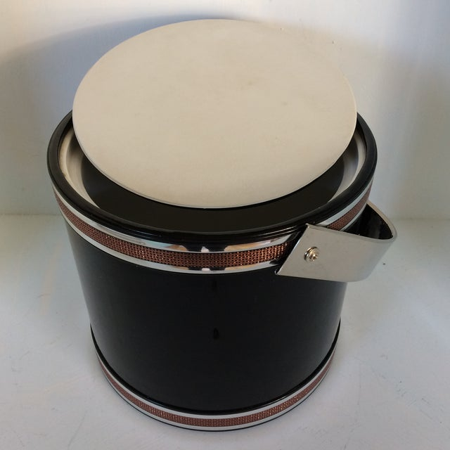 Georges Briard Black Vinyl & Chrome With Copper Tone Bands Ice Bucket and Tongs For Sale In Sacramento - Image 6 of 13