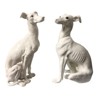 Pair of Life-Size Terracotta Greyhounds For Sale