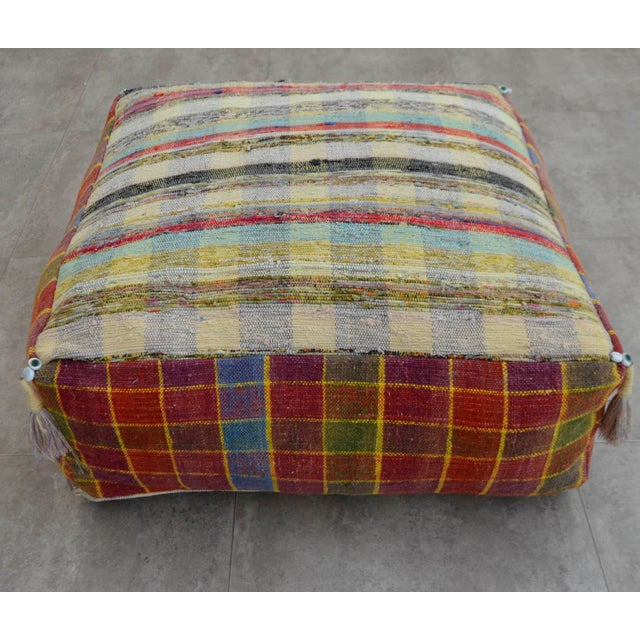 Turkish Hand Woven Kilim Floor Pillow - Image 4 of 9