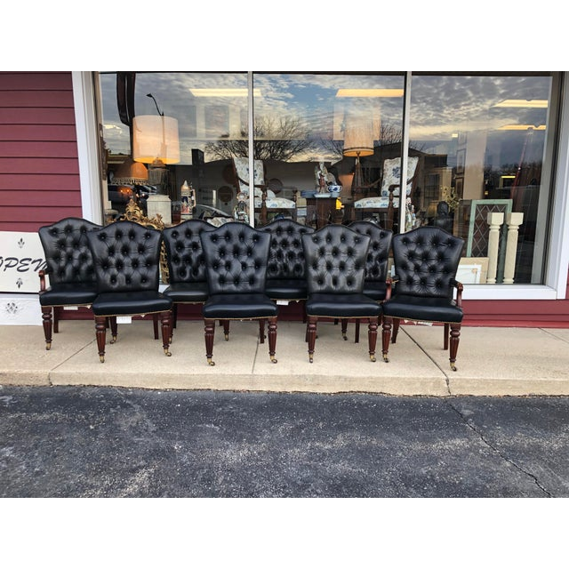 Vintage Henredon Leather Chairs-Set of 8 For Sale - Image 13 of 13