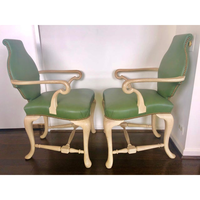 Inspired by the original George III Chair circa 1760's , reproduced by Francie Elkins, Circa 1940's. Solid white Oak and...