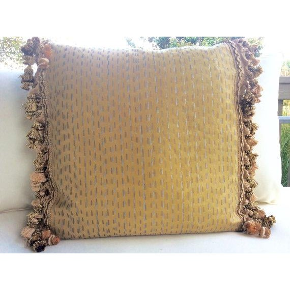 Traditional Fortuny Pillows in Cilindri Silver & Gold on Mustard - a Pair For Sale - Image 3 of 5