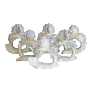 Bone China Blue Floral Napkin Rings - Set of 6 For Sale