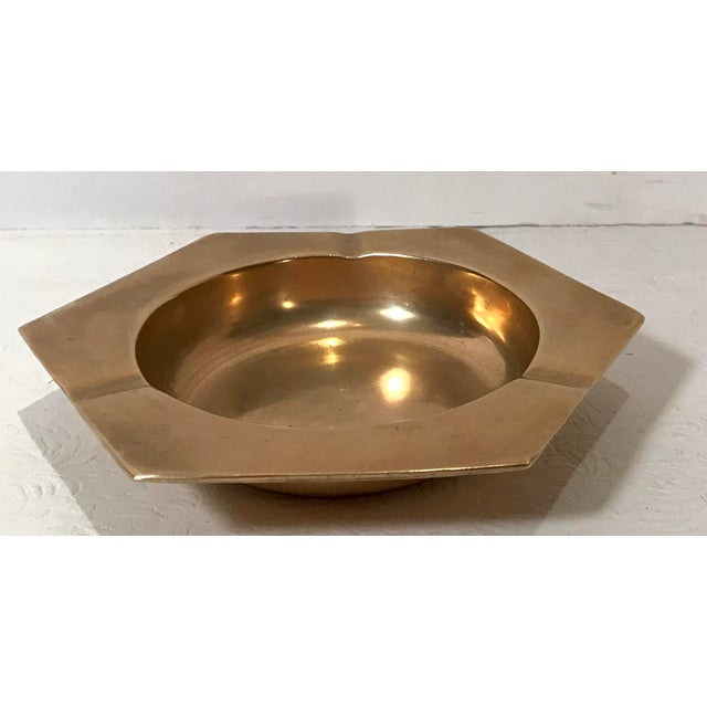 Vintage Brass Six Sided Geometric Ashtray For Sale - Image 4 of 7