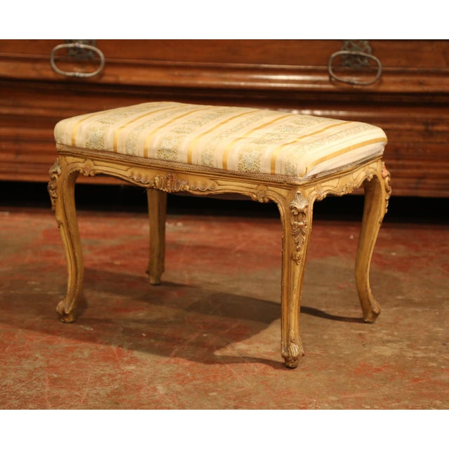 French 19th Century French Louis XV Carved Painted Stools With Silk Fabric - a Pair For Sale - Image 3 of 7