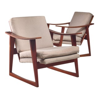 Pair of Danish teak lounge chairs, 1960s For Sale