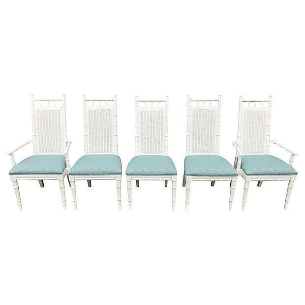 Asian White Lacquered Faux-Bamboo Wicker Back Vintage Dining Chairs - Set of 5 For Sale - Image 3 of 12
