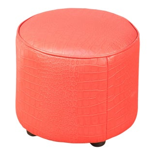 Round Footrest, Embossed Crocodile Red Leather For Sale
