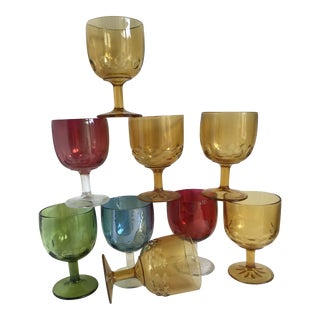 Mid-Century Cocktail Stemware Goblets - Set of 9