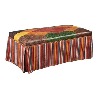Richard Shapiro Studiolo One of a Kind Leather and Vintage Textile Bench For Sale