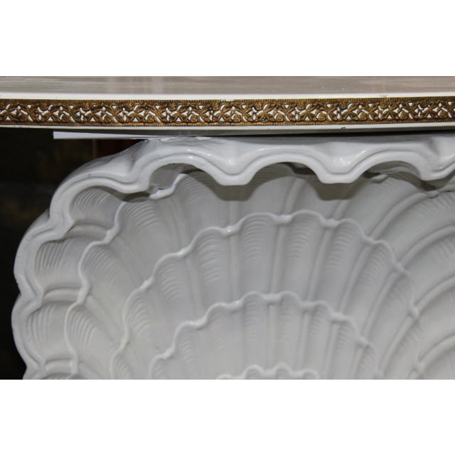 Hollywood Regency Hollywood Regency Shell Demilune For Sale - Image 3 of 5