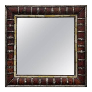 Moroccan Leather and Metal Inlaid Square Mirror