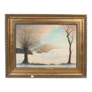 Sparse Winter Landscape at Sunset by a. Andersen, 1915 For Sale