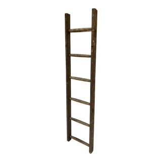 Antique French 5-Foot Wood Ladder For Sale