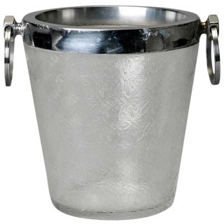 Art Deco Heavy Crystal Ice Bucket with Overall Design For Sale