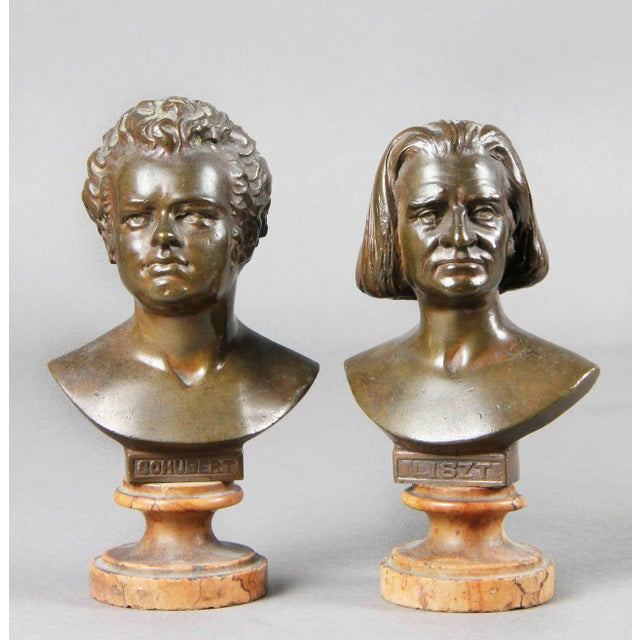 The largest four with Rosso Antico bases depicting Mozart, Haydn, Gluck and Beethoven , another medium size of Listz, then...