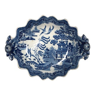 1800's Antique Rogers Blue Willow Serving Dish For Sale