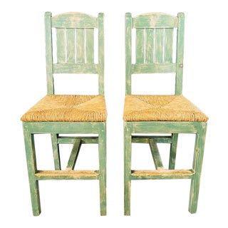 Vintage French Rustic Syle Straw Wooden Bar Stool in Green Turquoise, a Pair For Sale