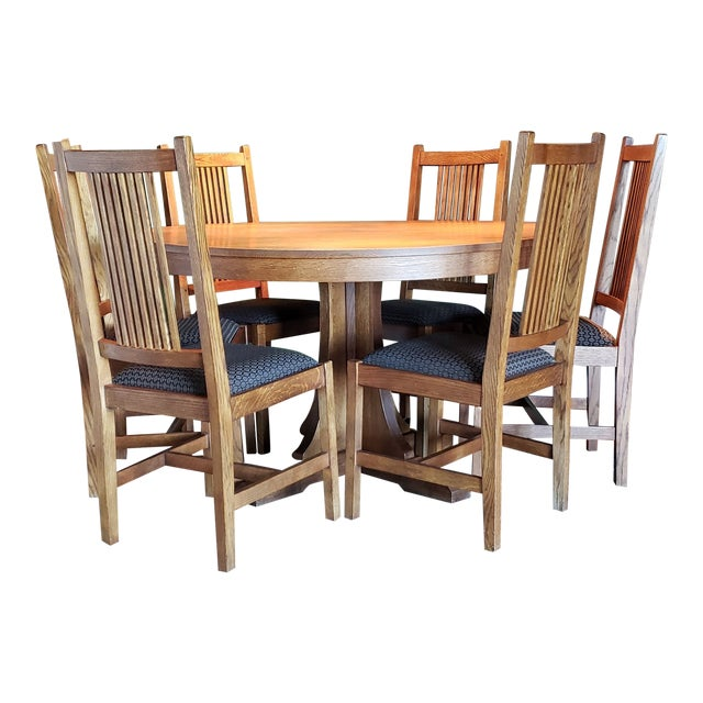 b042c71e28 Stickley Mission Oak Round Pedestal Dining Table & Six High Spindle Back  Dining Chairs For Sale