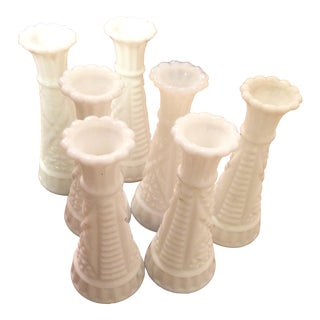 Small Milk Glass Vases - Set of 7 For Sale