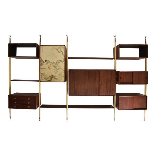 Monumental Mexican Modernist Wall Unit in Solid Mahogany and Goatskin For Sale