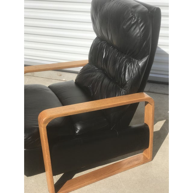 Børge Mogensen 1950s Original Borge Mogensen Black Leather Lounge Chair With Ottoman For Sale - Image 4 of 10