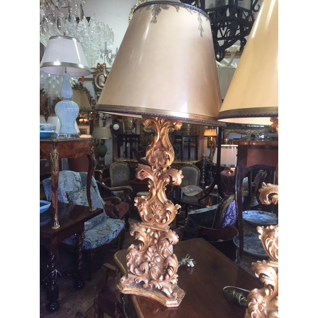 18th Century Carved Giltwood Candles Converted to Lamps - a Pair For Sale - Image 4 of 13