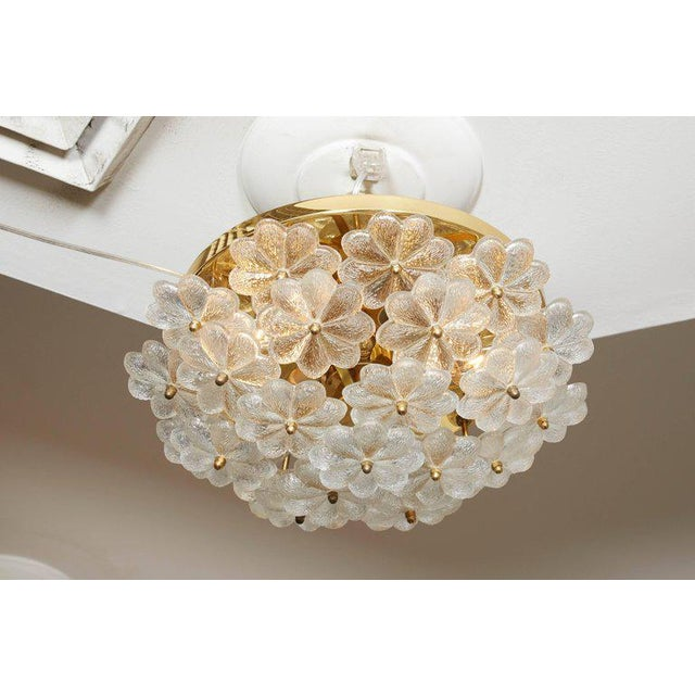 Vintage Daisy Floral Glass Flush Mount For Sale In New York - Image 6 of 10