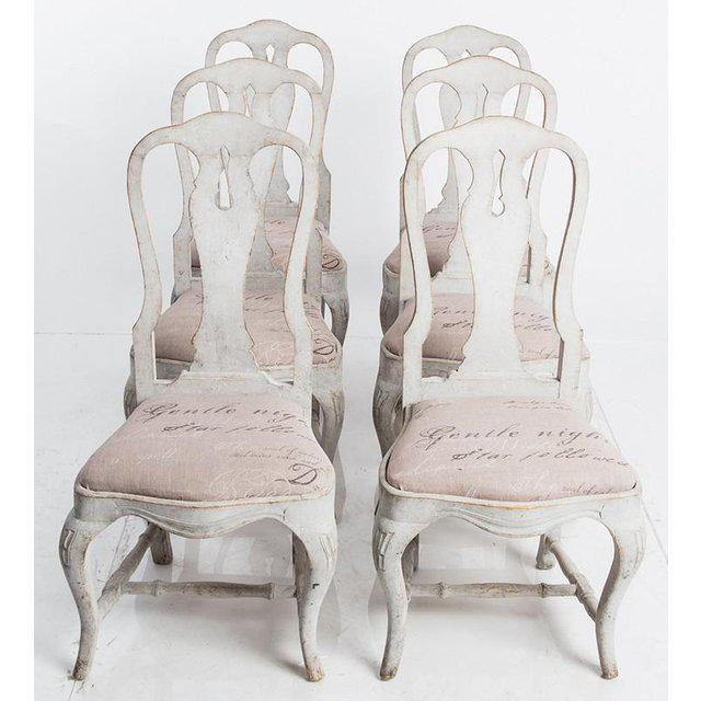 Wood Antique White Swedish Baroque Set of Six Dining Chairs For Sale - Image 7 of 7