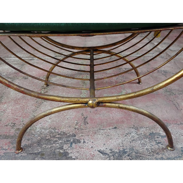 Beautiful Gilt Metal French Lady's Bench W/Velvet Pillow -C1920s For Sale - Image 9 of 10