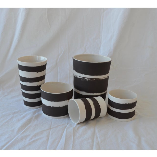 Contemporary Ceramic Striped Cylindrical Vessels - Set of 5 For Sale - Image 13 of 13