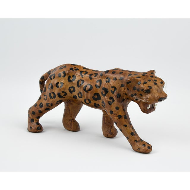 Vintage Hand Painted Leather Leopard Figure For Sale - Image 13 of 13