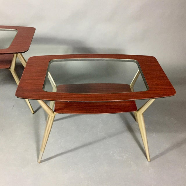 Pair of Atomic Metal and Glass Side Tables, Usa, 1970 For Sale - Image 9 of 10