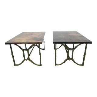 Pair of Aldo Tura Goatskin End Tables For Sale
