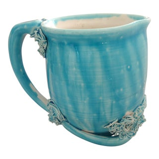 Italian Turquoise Glazed Pitcher For Sale