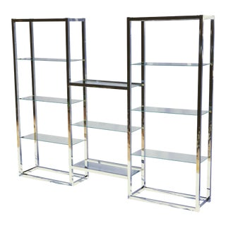 1970s Disco Era Chrome and Glass Etagere Shelving Unit For Sale