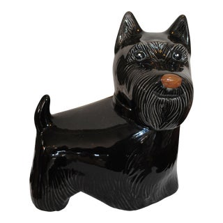 Vintage Metlox Black Scottie Dog Cookie Jar For Sale