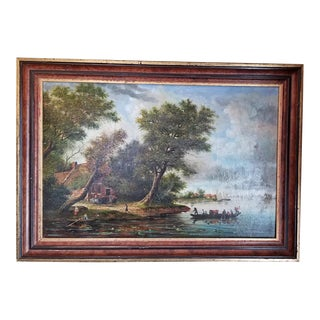 18c Oil on Board Continental School of Lake Scene For Sale
